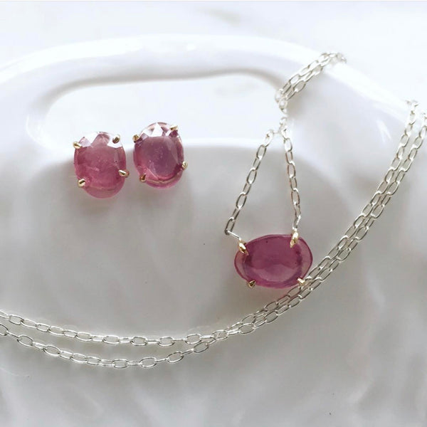 pink sapphire necklace with 14k gold prongs + sterling silver chain