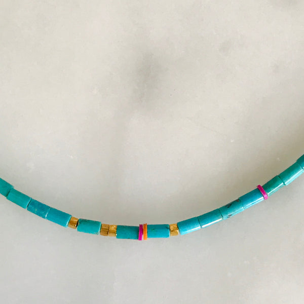 turquoise 18k gold beads + african vinyl beads