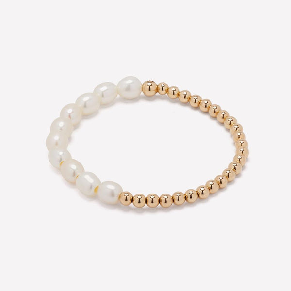 fresh water pearls with 14k gold filled beaded bracelet