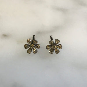 diamond daisy studs. sterling silver