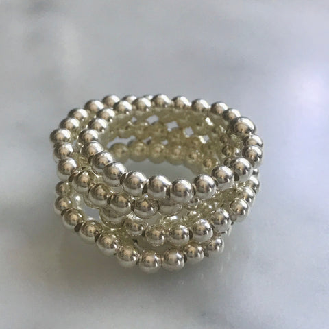 3mm silver beaded ring on elastic