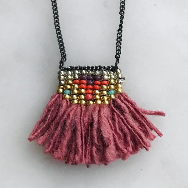 hand dyed silk fringe and beaded necklace on blacked silver chain