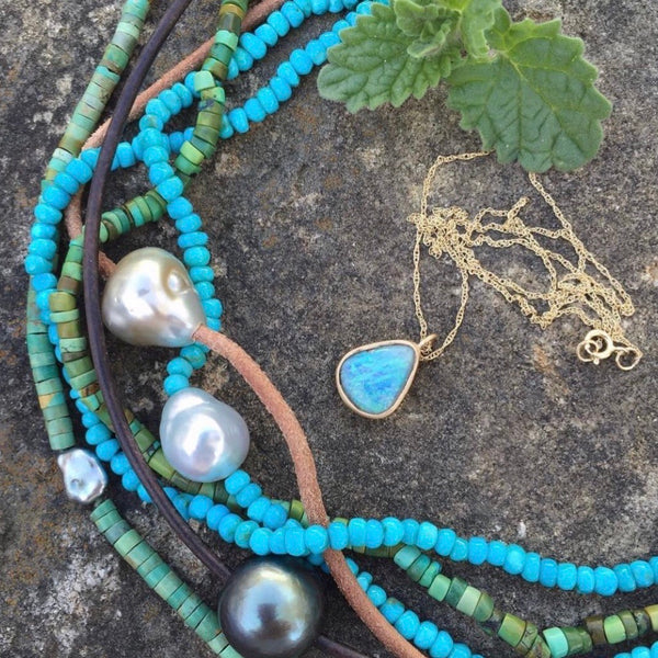 sleeping beauty turquoise + pearl necklace