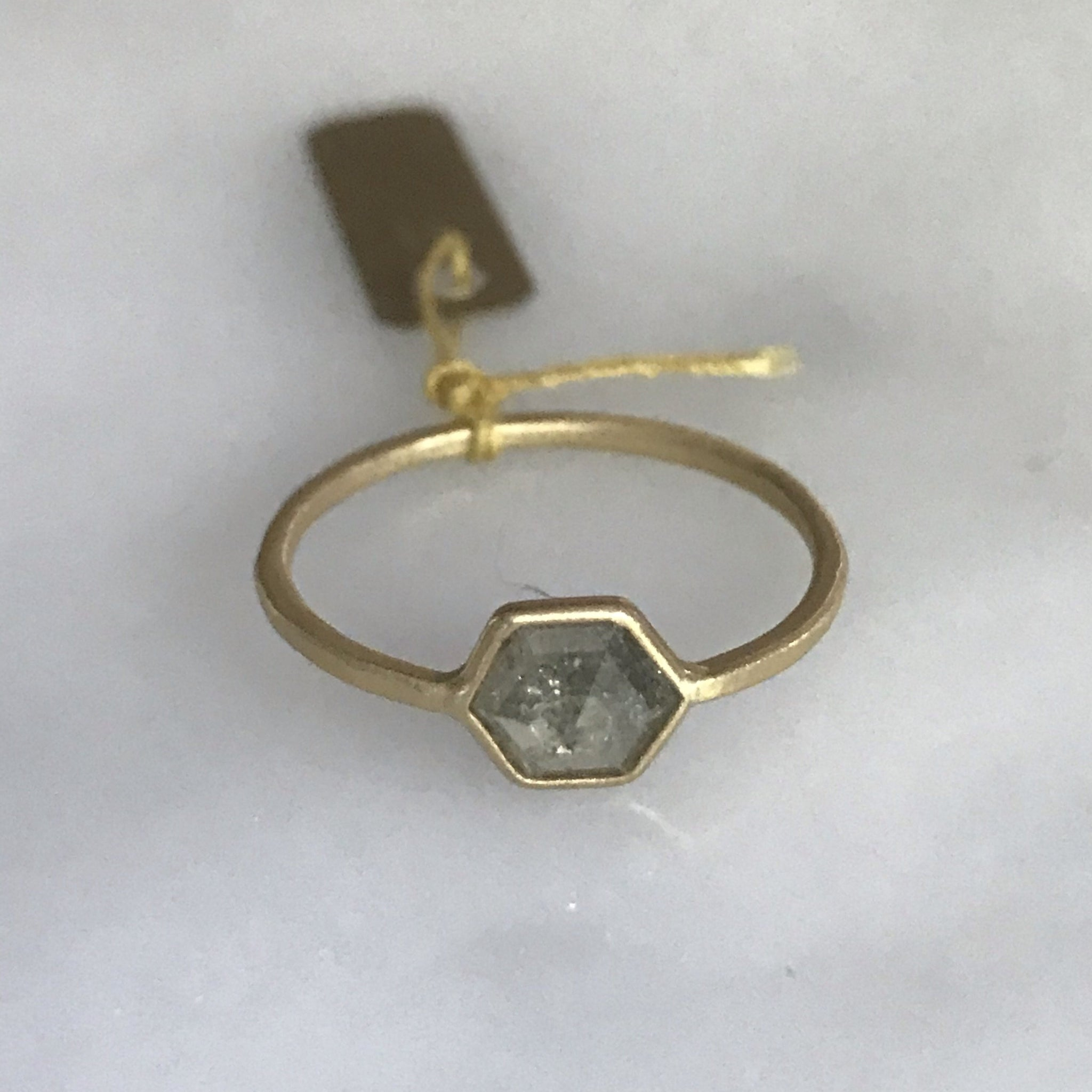 salt + pepper diamond bezel 18k stop sign