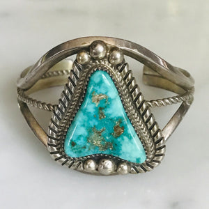 turquoise sterling silver cuff. signed. vintage.
