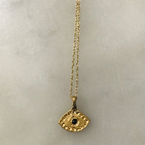 "'eye see you' necklace.  14k gold.  16"" chain."
