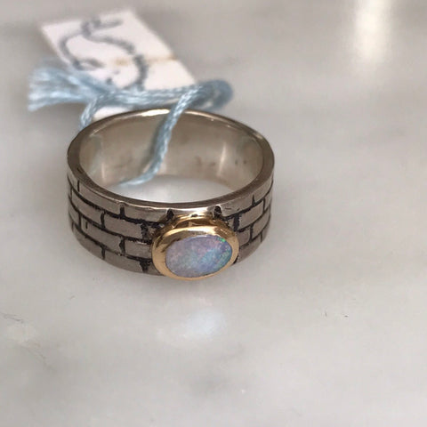 flashy australian boulder opal set in 14k gold + sterling silver
