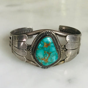 turquoise sterling silver cuff.  vintage.