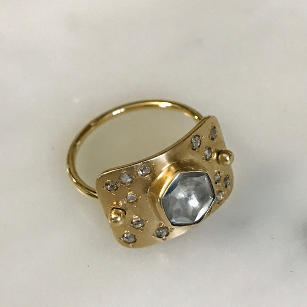 center polki diamond + grey rosecut constellation plate ring 14k