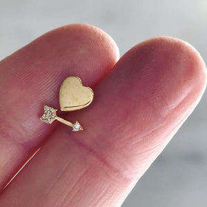 heart + pavé diamond arrow mismatched studs 14k