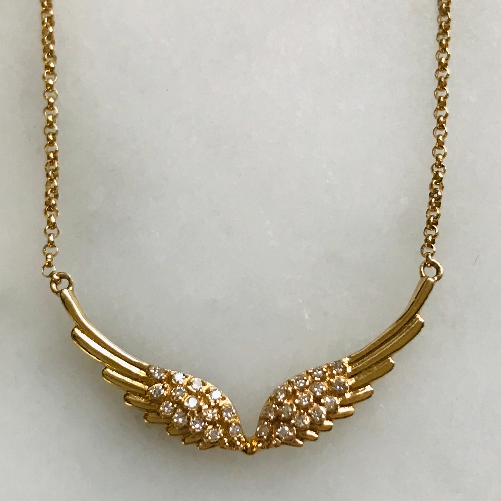 diamond angel wing necklace 14k gold