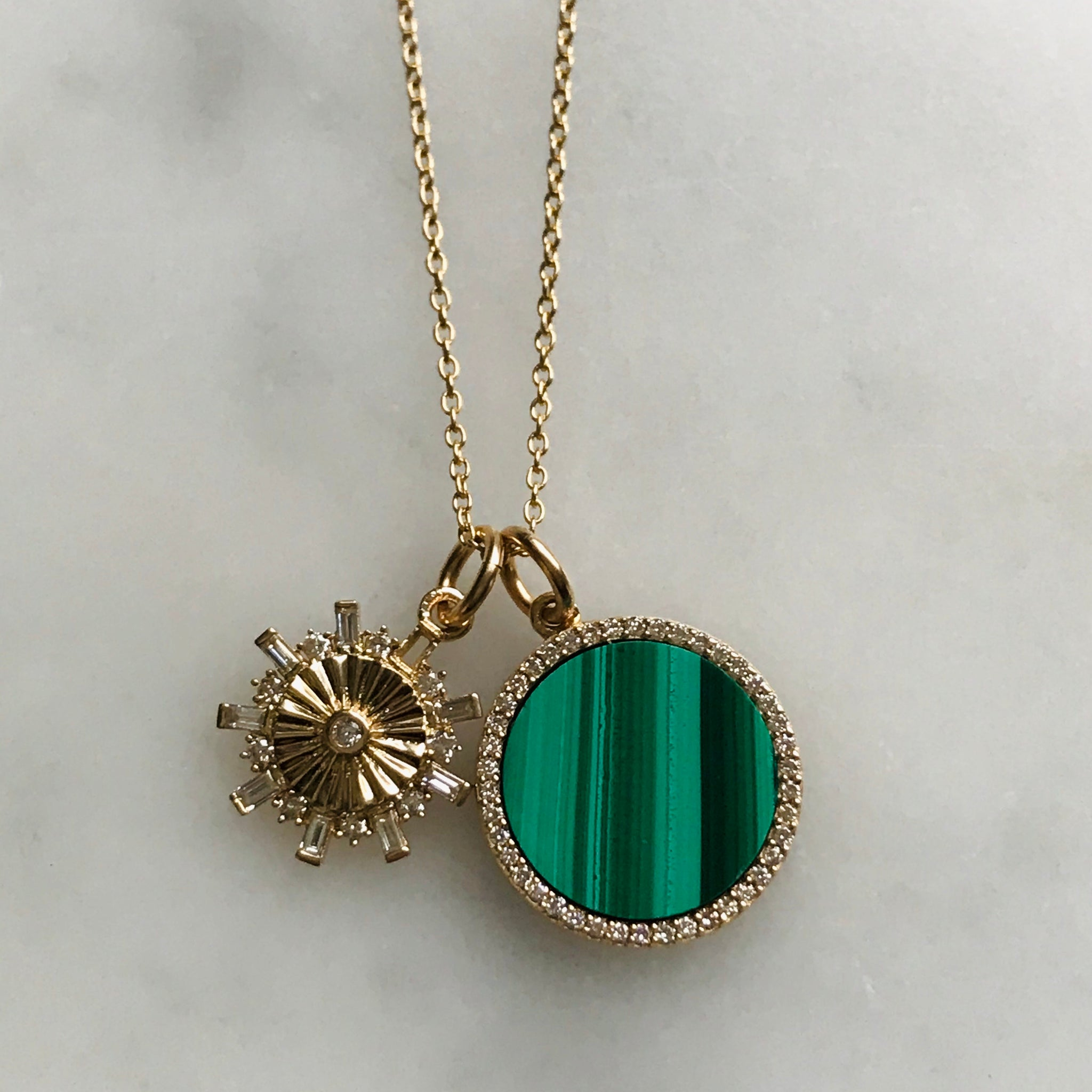 malachite diamond 14k gold charm necklace