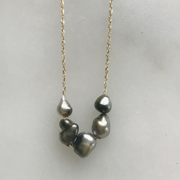 five keshi pearl necklace on a 14k gold chain