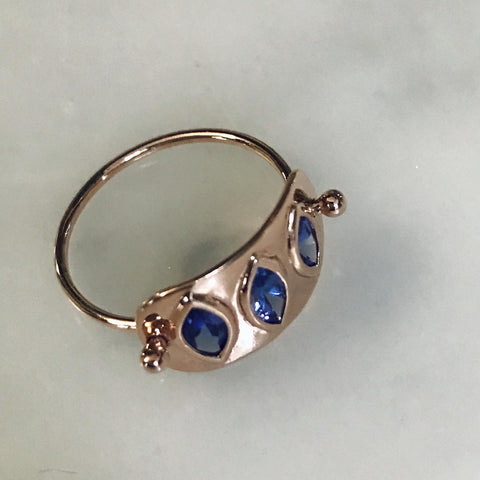 triple marquise tanzanite plate ring in 14k rose gold