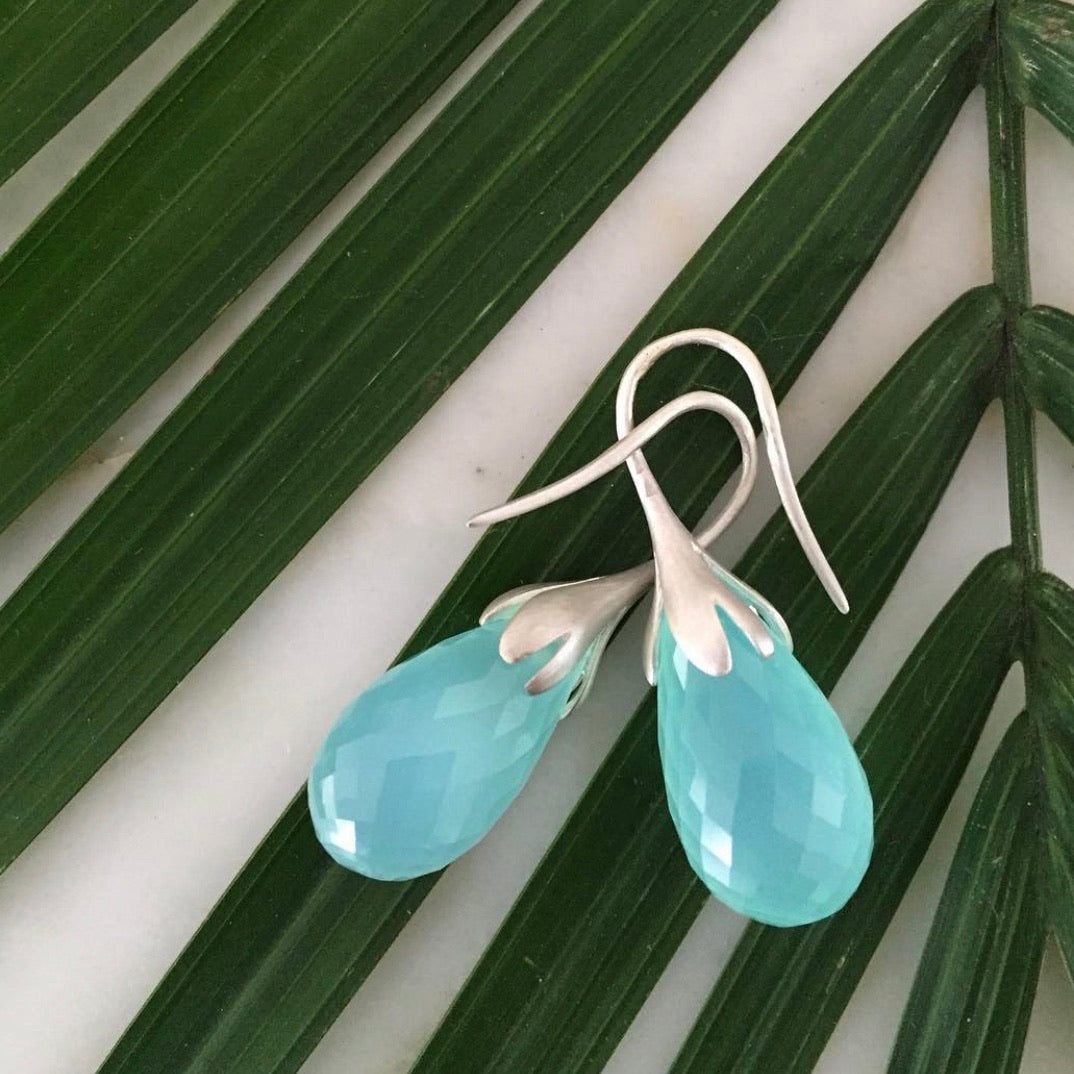 watercolor chalcedony sterling silver drops
