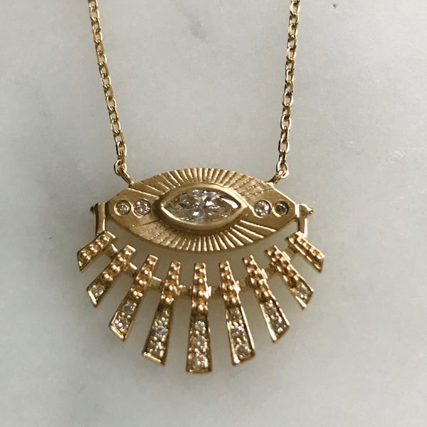 eye spy marquis diamond with diamond sun beams 14k