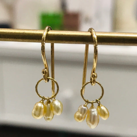 very rare golden south sea keshi pearls. 18k gold.