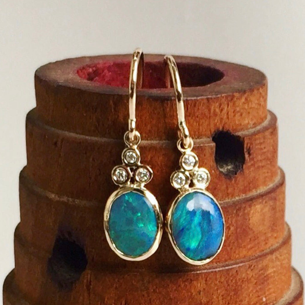 australian opal diamond trio dangles