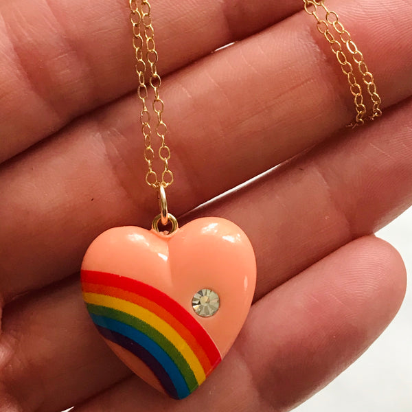vintage peach rainbow heart with gold filled chain