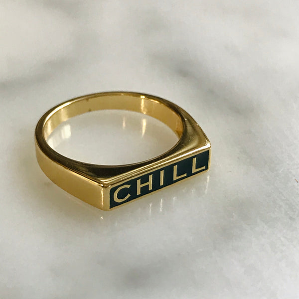 chill signet ring with teal enamel