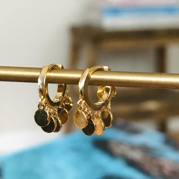 vermeil huggie earrings with gold discs charms