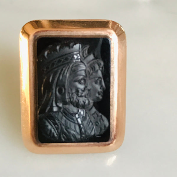 antique 14k rose gold double crowned bust cameo ring
