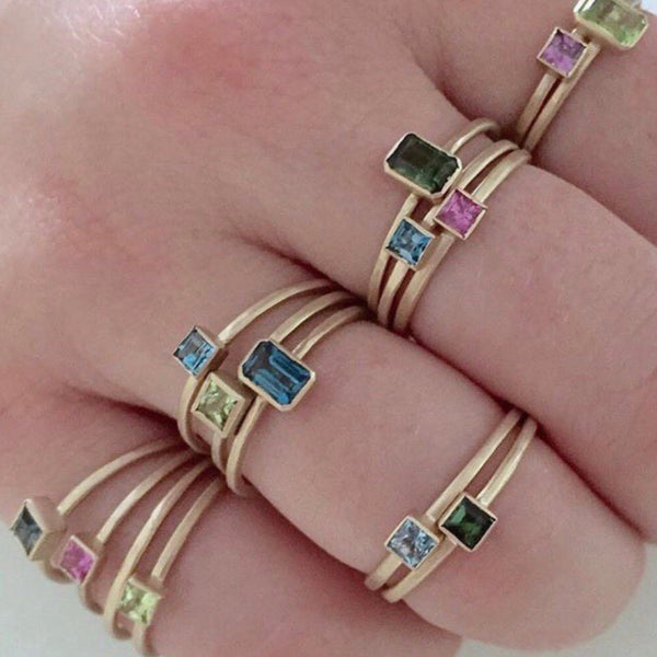 14k confetti stacking rings