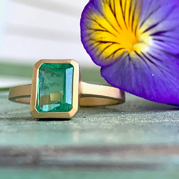 18k 1.15c colombian emerald ring