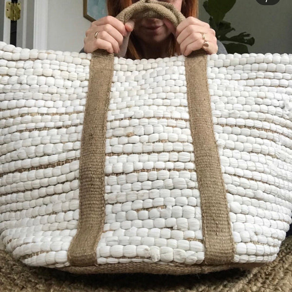 over sized white hemp + cotton tote bag