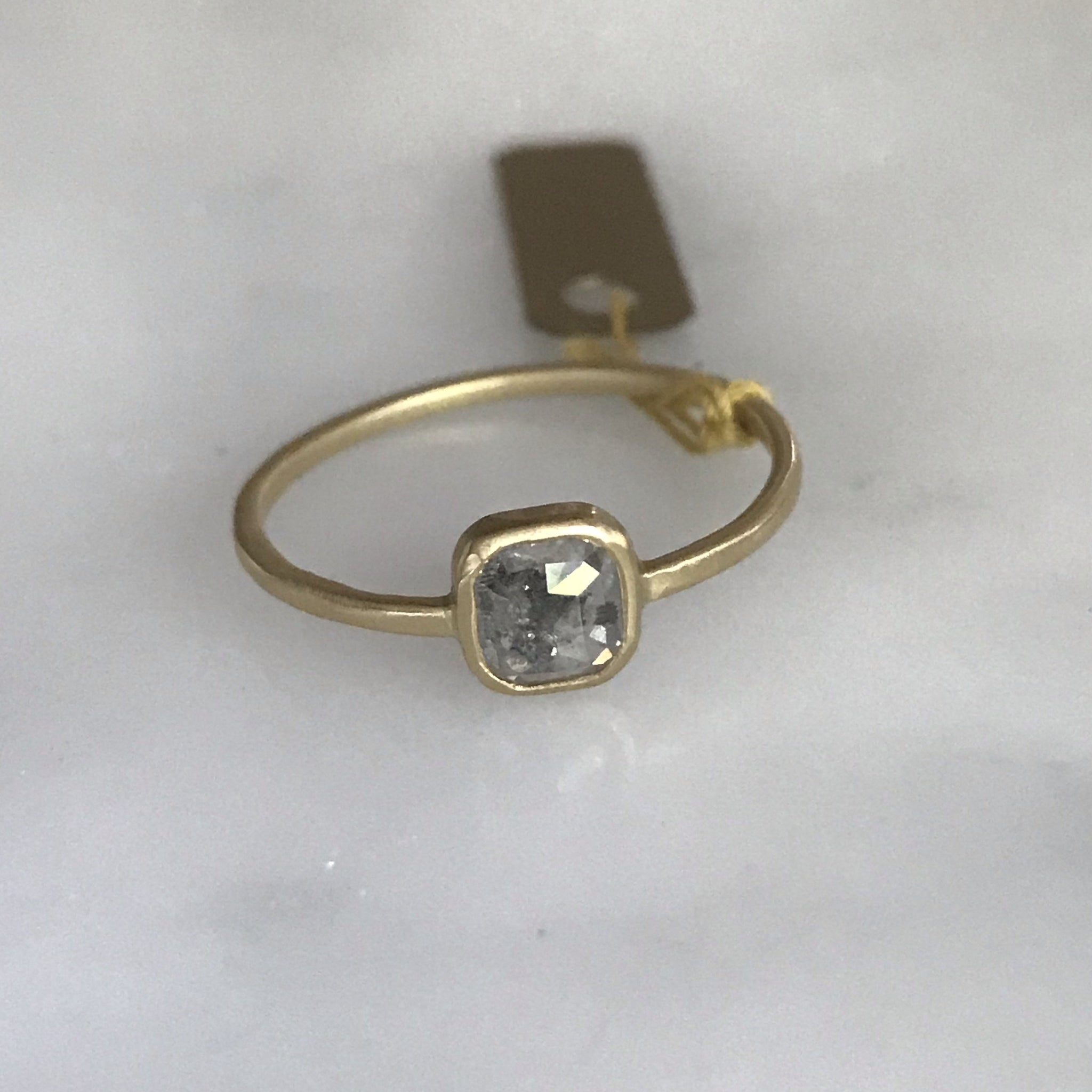salt + pepper rose cut diamond ring 18k bezel