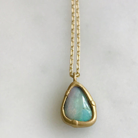 australian boulder opal set in 14k gold with gold chain