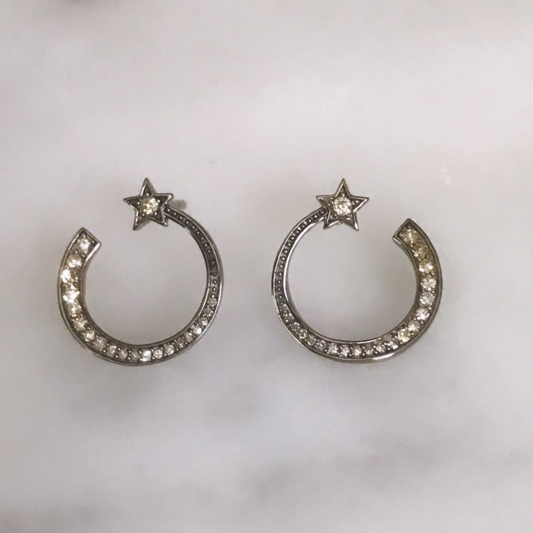 diamond shooting star circle studs