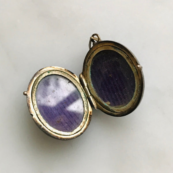 victorian gold filled blue enamel PET locket.