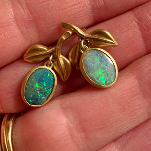 australian opal hand carved leaf post dangles in 18k gold