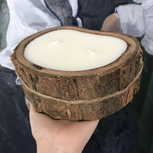 irregular tree bark candle in grapefruit pine scent