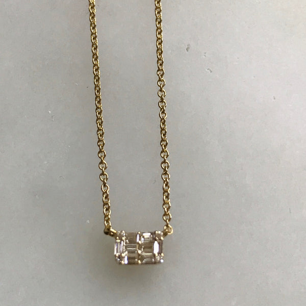 "baguette diamond necklace 14k adjustable 15-18"" chain"