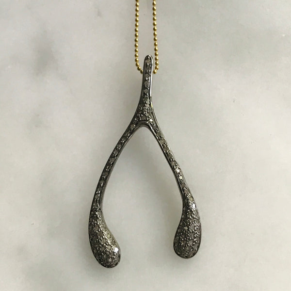 diamond silver wishbone on adjustable gold or silver chain