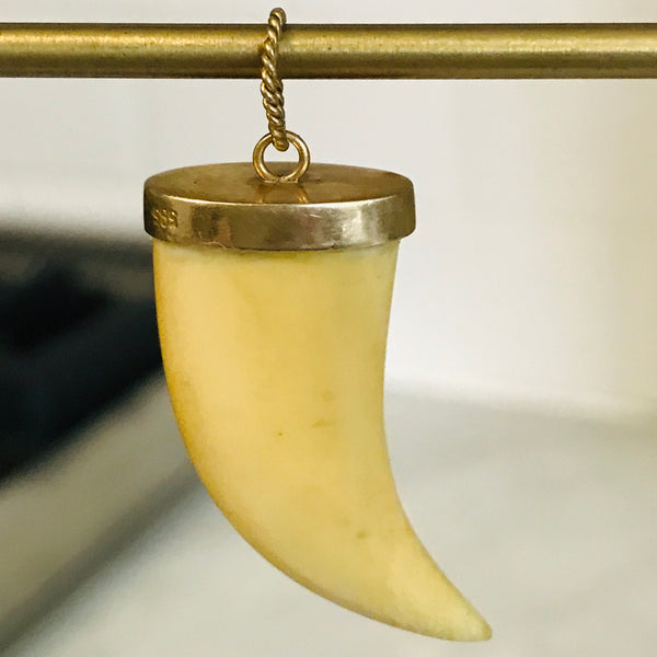 14k victorian carved ivory claw tooth