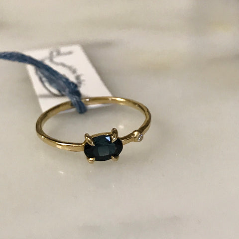 teal spinel + diamond wink ring 14k gold