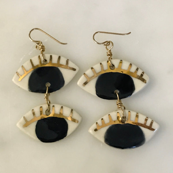 hand painted porcelain eye drop earring with gold leaf detail