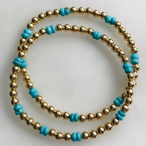 14k gold beaded bracelet with turquoise beads