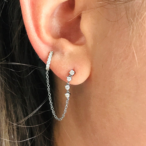 single diamond chain cuff earring