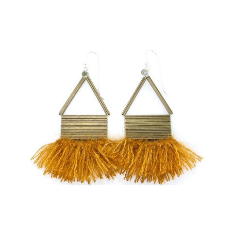 triangle brass earrings with mohair and silk fringe
