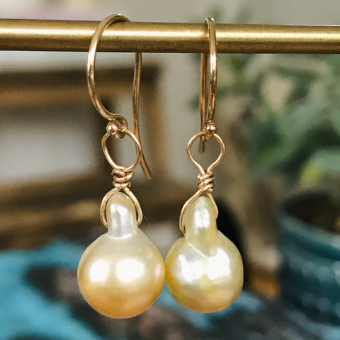baroque golden south sea pearl on 14k gold hook