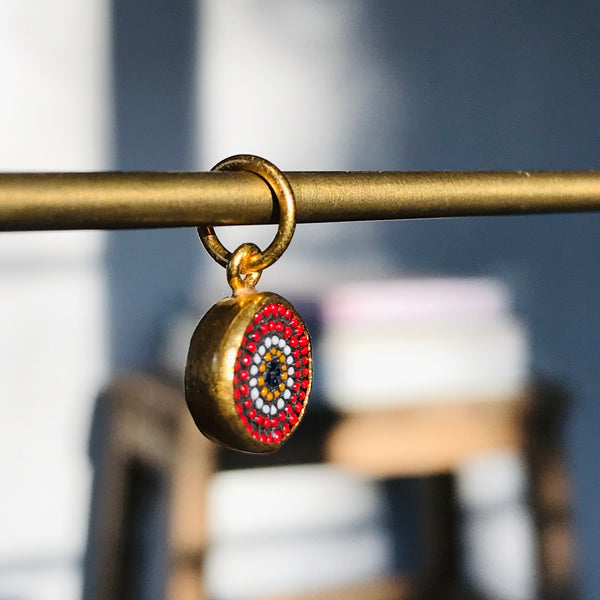 red micro mosaic eye charm in 24k gold