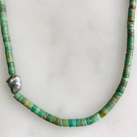royston turquoise + keshi pearl necklace