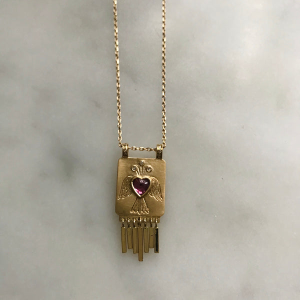 pink tourmaline heart angel necklace with gold fringe 14k