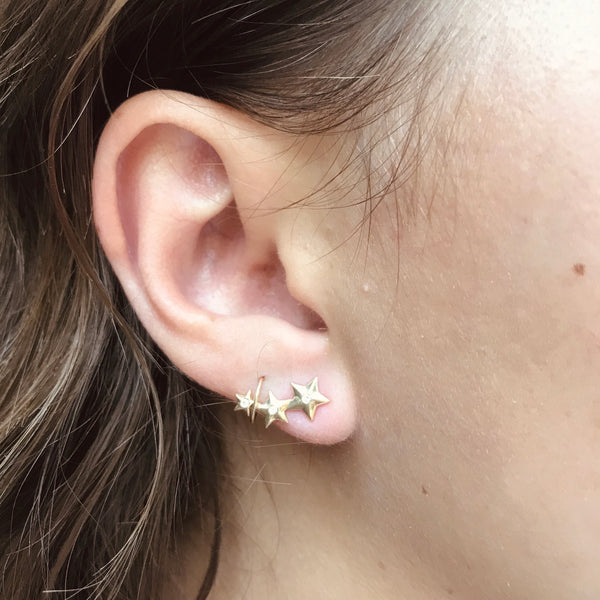 14k gold + diamond star climbers