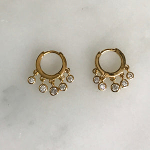 10mm vermeil huggie earrings with mini cz drops