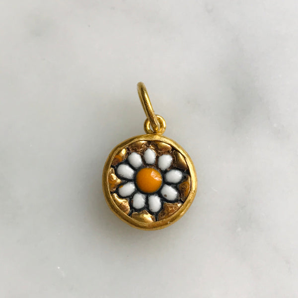 hand made 24k gold flower charm. signed.